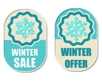 Winter sale and offer with snowflake sign Royalty Free Stock Image