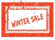 WINTER SALE on orange square frame rubber stamp with grunge texture Stock Photo