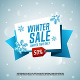 Winter sale origami banner. Limited time only. Royalty Free Stock Image