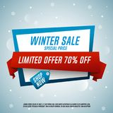 Winter sale origami banner with red ribbon. Special price. Vector illustration Stock Image