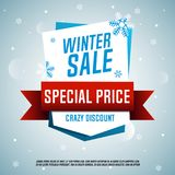 Winter sale origami banner. Special price. Vector illustration Stock Images