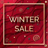 Winter sale paper cut styleweb banner. royalty free stock photography