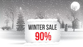 Winter sale 5 percent. Big winter sale poster with snowflakes. c Stock Photo