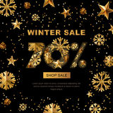 Winter sale 70 percent off,  banner with 3d gold stars and snowflakes.. Winter sale 70 percent off,  banner with 3d gold stars and snowflakes. Paper cut style Stock Photography