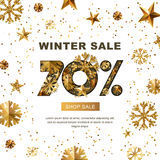 Winter sale 70 percent off,  banner with 3d gold stars and snowflakes.. Winter sale 70 percent off,  banner with 3d gold stars and snowflakes. Paper cut style Stock Photos