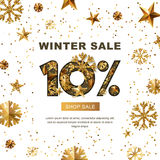 Winter sale 10 percent off, banner with 3d gold stars and snowflakes. Paper cut style 10 discount, golden white background. Layout for holiday poster, labels royalty free illustration