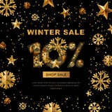 Winter sale 10 percent off,  banner with 3d gold stars and snowflakes.   Royalty Free Stock Images