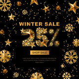 Winter sale 25 percent off,  banner with 3d gold stars and snowflakes.. Paper cut style 25 discount, golden black background. Layout for holiday poster, labels Stock Images