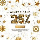 Winter sale 25 percent off, banner with 3d gold stars and snowflakes. Paper cut style 25 discount, golden white background. Layout for holiday poster, labels royalty free illustration