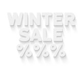 Winter sale. And percent symbol in white 3d letters with shadow on white background Royalty Free Stock Photo
