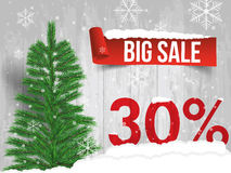 Winter sale 30 percent. Winter sale background with red ribbon b. Anner and snow. Sale. Winter sale. Christmas sale. New year sale. Vector illustration Stock Photography