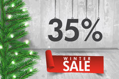 Winter sale 35  percent. Winter sale background with red ribbon. Banner and snow. Sale. Winter sale. Christmas sale. New year sale. Vector illustration Stock Photography