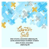 Winter sale poster with abstract blue and golden crosses. Winter sale poster with abstract blue and golden crosses and place for text Royalty Free Stock Image
