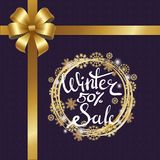 Winter Sale Poster in Frame Made of Snowflakes. Winter sale 50 poster in decorative frame made of silver and golden snowflakes, snowballs of gold in x-mas border Stock Photo