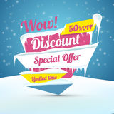 Winter sale poster. Discount sticker. Special offer vector. Advertisement tag. Stock Photo
