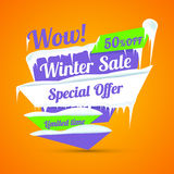 Winter sale poster. Discount sticker. Special offer vector. Advertisement tag. Royalty Free Stock Photography