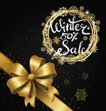 Winter Sale Poster in Frame Made of Snowflakes. Winter sale 50 poster in decorative frame, silver and gold snowflakes of gold glitter on black and bow on ribbon Royalty Free Illustration