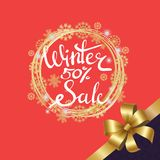 Winter Sale Poster in Frame Made of Snowflakes. Winter sale 50 poster in decorative frame made of silver and golden snowflakes, snowballs of gold in x-mas border Royalty Free Stock Photography