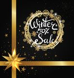 Winter Sale 50 Poster with Glittering Star Vector. Winter sale 50 poster with glittering stars, decorative frame made of silver and golden snowflakes and gold Stock Illustration