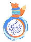 Winter Sale Poster with Smiling Fox in Sweater. Isolated on white. Vector illustration with little happy squirrel sitting in blue knitted warm clothes Royalty Free Stock Images
