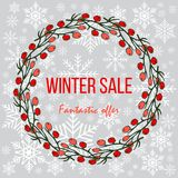Winter sale poster, special offer, discount. Vector illustration Royalty Free Stock Photography