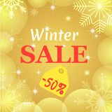 Winter sale poster. Vector design. Gold transparent snowflakes and balls. Christmas an New Year 50 percent discount. Banner. Winter Holidays typography vector illustration