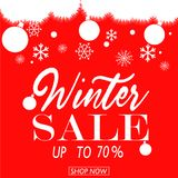 Winter sale poster. Vector illustration snow flakes Stock Photo
