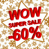 Winter sale poster with WOW SUPER SALE MINUS 60 PERCENT text. Advertising vector banner. Template royalty free illustration