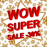 Winter sale poster with WOW SUPER SALE MINUS 30 PERCENT text. Advertising vector banner Stock Photo