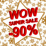 Winter sale poster with WOW SUPER SALE MINUS 90 PERCENT text. Advertising vector banner. Template stock illustration