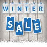 Winter Sale Price Stickers Wooden Background Stock Images