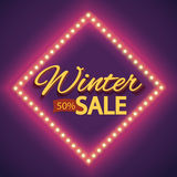 Winter sale with purple lights vintage frame Royalty Free Stock Photos