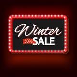 Winter sale with purple lights vintage frame Stock Photo
