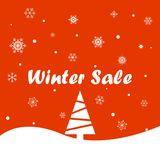 Winter sale on a red background Royalty Free Stock Photography