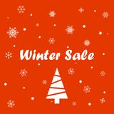 Winter sale on a red background Stock Image