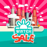 Winter Sale Retro Flat Design Vector Illustration Royalty Free Stock Images