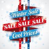 Winter Sale Ribbon Bokeh Snowflakes Stock Photo