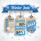 Winter Sale Ribbon Price Stickers Bokeh Snowflakes Stock Photography