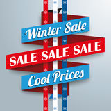 Winter Sale Ribbon Snowflakes. Sale ribbon with snowflakes for winter sale Stock Image