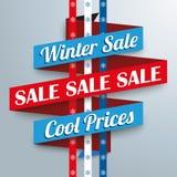 Winter Sale Ribbon Snowflakes Stock Image