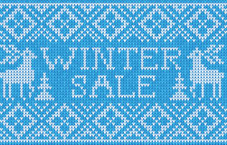 Winter sale: Scandinavian style seamless knitted pattern with de Royalty Free Stock Photo