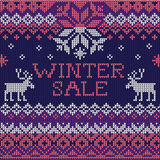 Winter sale: Scandinavian style seamless knitted pattern with de Stock Photos