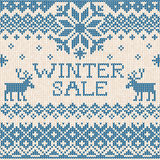 Winter sale: Scandinavian style seamless knitted pattern with de Royalty Free Stock Photography