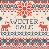 Winter sale: Scandinavian style seamless knitted pattern with de Stock Photo