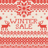 Winter sale: Scandinavian style seamless knitted pattern with de Stock Photography
