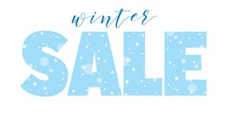 Winter sale seasonal banner with snow. Lettering Royalty Free Stock Image
