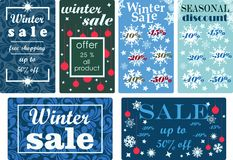 Winter sale and seasonal discounts labels set. Vector illustration. Royalty Free Stock Images