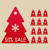 Winter sale set of Christmas trees. Vector set of sale Christmas tree labels, shooping tags for clearance Royalty Free Stock Photos