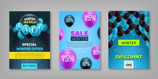 Winter sale set. Sticker, voucher, poster. Collection of promotional materials for the seasonal fair. Profitable offers for discounts, promotions, gifts Royalty Free Stock Images