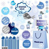 Winter sale-set of stickers and labels Stock Photos